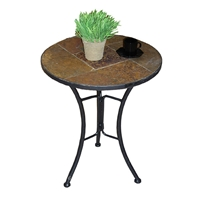 Round Slate Top End Table