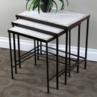 3-Piece Nesting Tables Set - Travertine Tops, Metal Base