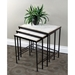 3-Piece Nesting Tables Set - Travertine Tops, Metal Base - 4DC-605809