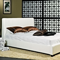 Malibu Contemporary White Leather Platform Bed with Panel Headboard