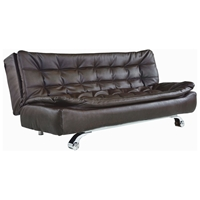 Modena Euro Convertible Sofa in Dark Brown Tufted Leatherette