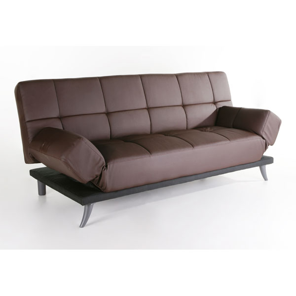 Plush Leather Convertible Sofa