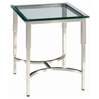 Sheila Contemporary End Table - Stainless Steel, Glass Top