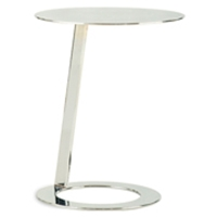 Mindy Contemporary End Table - Polished Chrome, Round Top