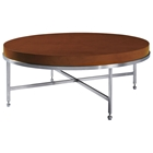Galleria Round Cocktail Table - Stainless Steel, Latte on Birch