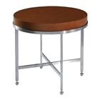 Galleria Round End Table - Stainless Steel Base, Latte on Birch Top