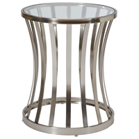 Alex Metal End Table - Satin Nickel Base, Glass Top