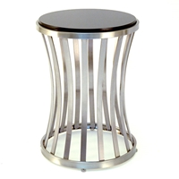 Alex Metal End Table - Satin Nickel Base, Black Granite Top
