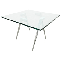 Sonya Contemporary Bunching Table - Chrome Legs, Square Glass