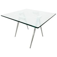 Sonya Contemporary End Table - Chrome Legs, Square Glass