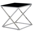 Excel Stainless Steel End Table - X Base, Black Glass Top, Square