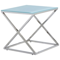 Excel Stainless Steel End Table - X Base, Clear Glass Top, Square