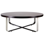 Artesia Round Cocktail Table - Mocha on Oak Top, Satin Nickel Base