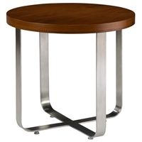 Artesia Round End Table - Walnut Stain Top, Satin Nickel Base