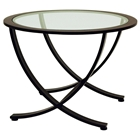 Wellington Metal End Table - Oil Rubbed Bronze, Round Glass Top