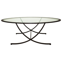 Wellington Cocktail Table - Oil Rubbed Bronze, Oval Glass Top