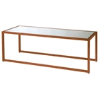 Grace Cocktail Table - Gold Leaf Metal, Mirror Glass Inlay