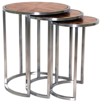 Greta 3 Piece Nesting End Tables Set - Zebrawood, Satin Nickel