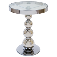 San Juan Round Side Table - Polished Chrome, Round Glass