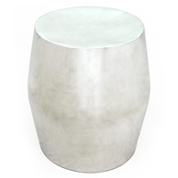 Antiqua Barrel Shaped End Table - Polished Cast Aluminum