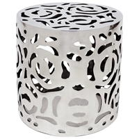 Cozumel End Table - Polished Cast Aluminum, Intricate Cut Outs