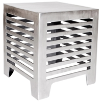 Jersey End Table - Matte Cast Aluminum, Horizontal Cut Outs