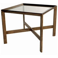 Denise Square End Table - Frisk Gold, Glass Inlay Top