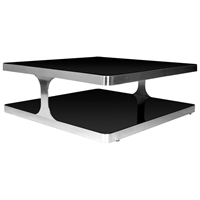 Diego Cocktail Table - Black Glass, Stainless Steel, Square