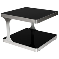 Diego End Table - Black Glass, Brushed Stainless Steel, Square