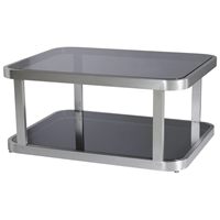 James Cocktail Table - Smoked Grey Glass, Brushed Stainless Steel