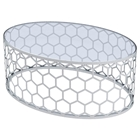 Melissa Honeycomb Cocktail Table - Stainless Steel, Oval Glass Top