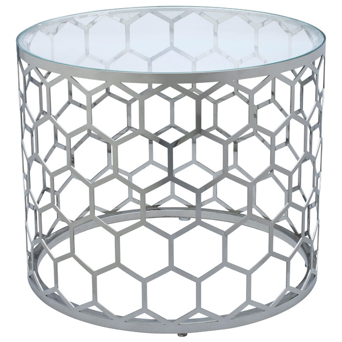 Melissa Honeycomb End Table - Stainless Steel, Round Glass Top
