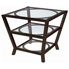Veranda Square End Table - Metallic Bronze, Glass Top & Shelves