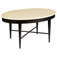 Lisa Cocktail Table - Crema Marfil Stone Top, Old Iron Base