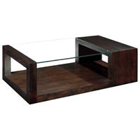 Dado Contemporary Cocktail Table - Espresso, Wood & Glass Top