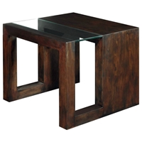 Dado Contemporary End Table - Espresso, Wood & Clear Glass Top