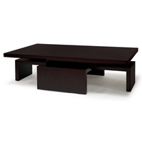 Sebring Wood Cocktail Table - Mocha on Oak, Rectangular Top