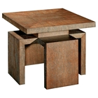 Sebring Wood End Table - White Limed Cognac, Square Top