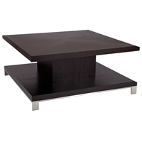 Force Cocktail Table - Mocha on Oak, Brushed Stainless Steel