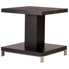 Force Square End Table - Mocha on Oak, Brushed Stainless Steel