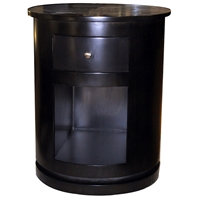 Clio Round Top End Table/Nightstand - Espresso, 1 Drawer