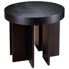 La Jolla Wood End Table - Espresso, Round Top, Angular Legs