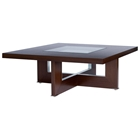 Bridget Cocktail Table - Espresso on Birch, Glass Insert, Square Top