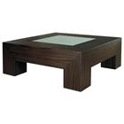 Melrose Square Cocktail Table - Macassar Ebony, Glass Insert