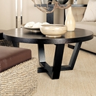 Andy Contemporary Cocktail Table - Black on Oak, Round Top