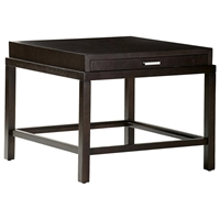 Spats Square End Table - Espresso, Satin Nickel Pulls, 1 Drawer