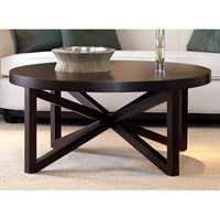 Snowmass Round Cocktail Table - Espresso on Birch, Asterisk Base