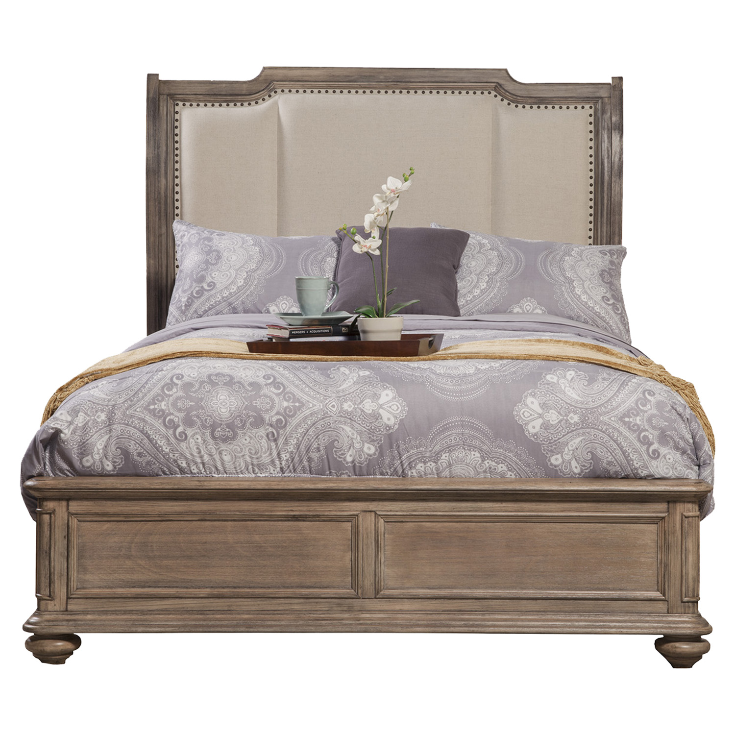 Melbourne French Truffle Bed - Nailheads, Upholstered Headboard