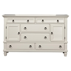 Winchester Dresser - White, 6 Drawers, 2 Doors