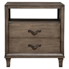 Charleston Nightstand - 2 Drawers, 1 Shelf, Antique Gray